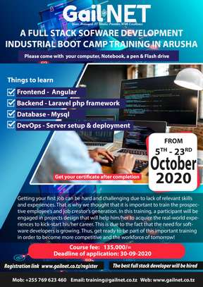 A full stack software developer industrial training for graduates in Arusha city