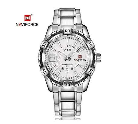 Men pure Silver Naviforce Military Design Watch