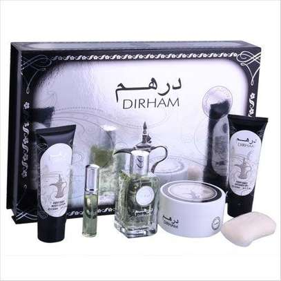 Dirham Gift Set with- Parfum 100ml , Body Lotion , Shower gel , Soap , Powder & mini Parfum