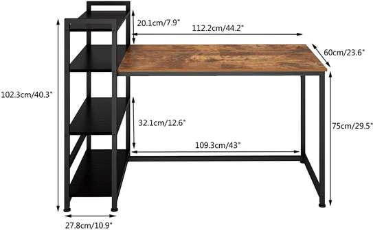 Computer Desk with Shelves,Industrial Table,47 inches Home Office Desk with Metal and Wood Bookshelf image 3