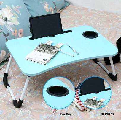 FOLDABLE WOODEN LAPTOP BED TABLE WITH CUP HOLDER & GADGET STAND image 6