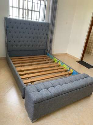 Queen size bed frame + foot stool