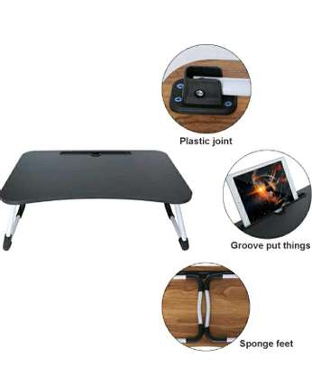 FOLDABLE WOODEN LAPTOP BED TABLE WITH CUP HOLDER & GADGET STAND image 2