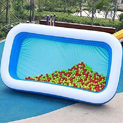Largest Family Inflantable PVC Swimming Pool(cm 255*180*80)-With Air Compressor image 4
