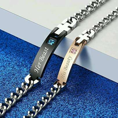 His Beauty Her Beast Titanium Stainless Steel Couple Bracelet