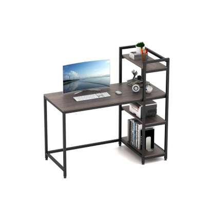 Computer Desk with Shelves,Industrial Table,47 inches Home Office Desk with Metal and Wood Bookshelf image 1