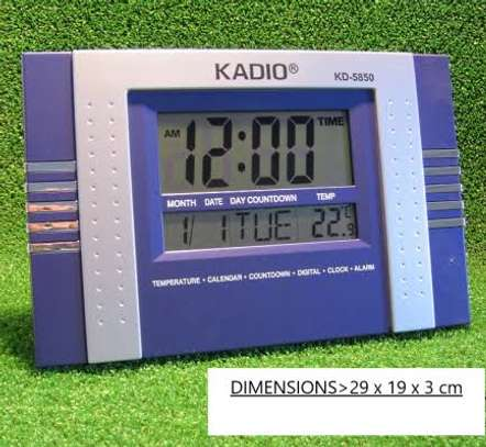 KADIO 5850 DIGITAL WALL AND TABLE CLOCK WITH DAY DATE TEMPERATURE image 1