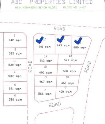 BEACH PLOT AT KIGAMBONI( 490 Sqm) image 1
