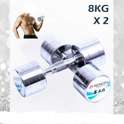 16KG Premium Pure Steel Plating Dumbbells Contoured Chrome Handle (8KG x 2)