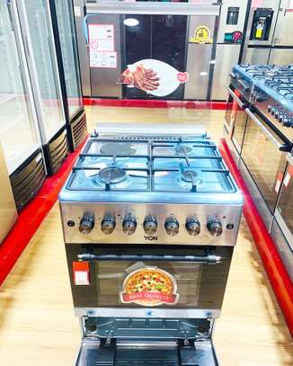 Von Hotpoint Cooker  F6B31E  3Gas Burners +1electric Hotplate & Electric Oven. Steenless steel Premium 60x60 with bottom cabinet image 1