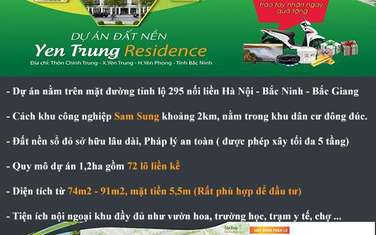 74 m2 land for sale in District Yen Phong